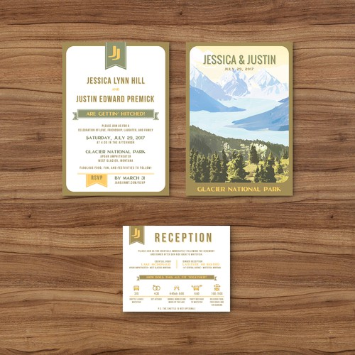 Vintage National Parks Wedding Invitation