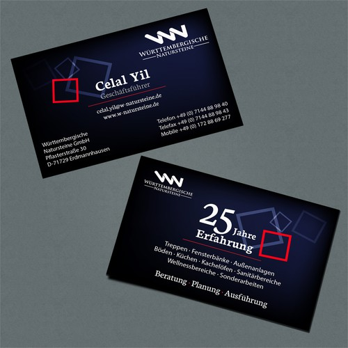 Create a Stunning Business Card for our natural stone company