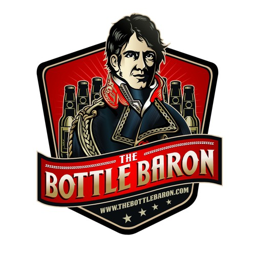 Create an interesting character logo for www.thebottlebaron.com