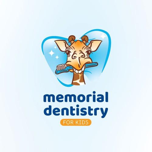 A giraffe for kid's dentistry logo