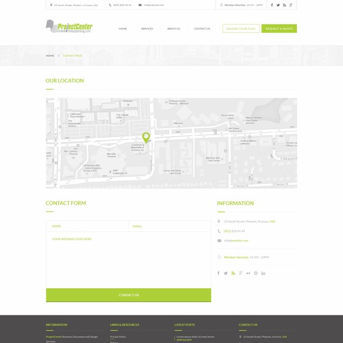 Ecommerce site design for a locally-owned print shop - Contact page