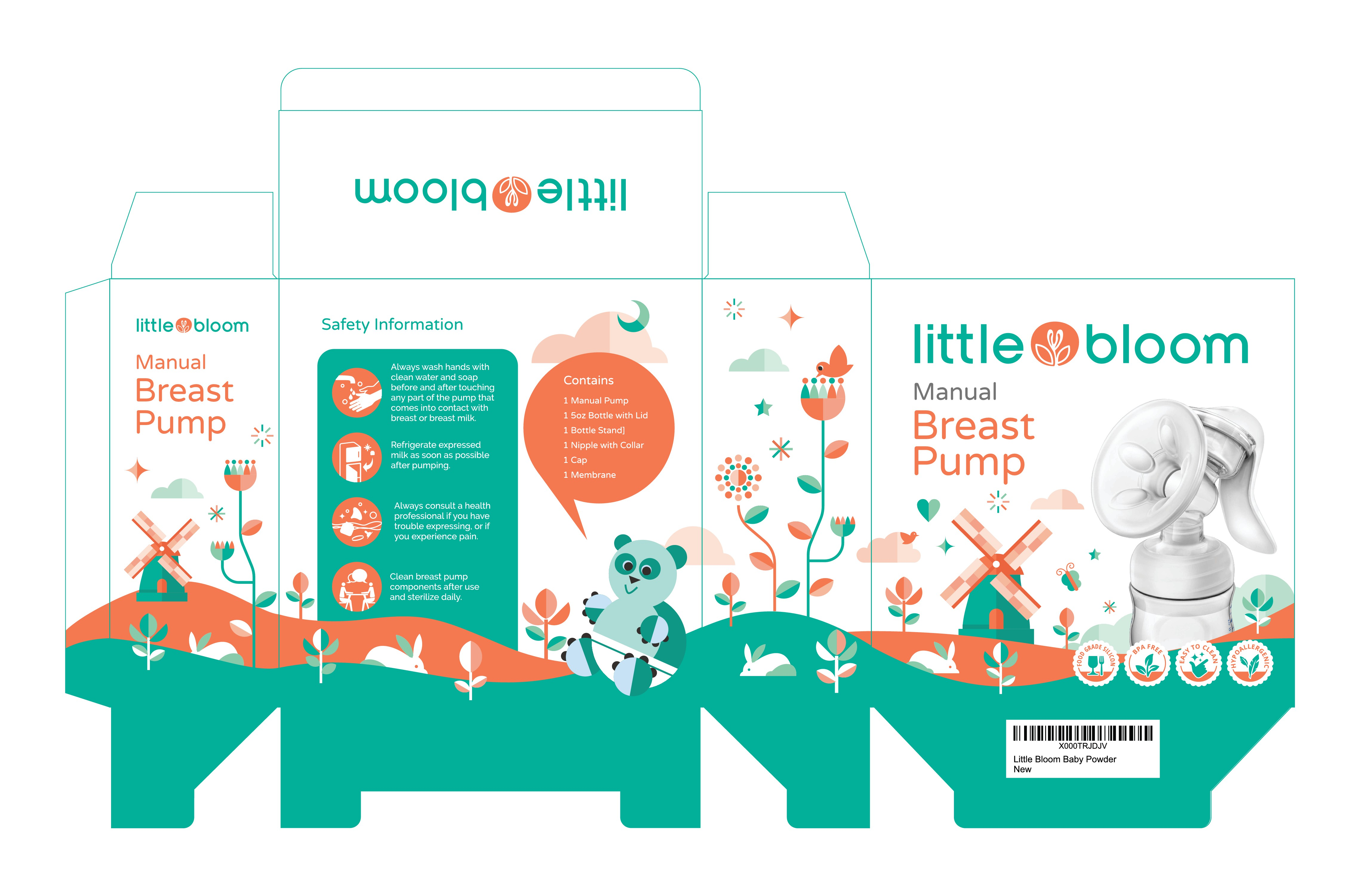 Packaging design for Little Bloom Breast Pump. Additional work opportunity for winning designer.