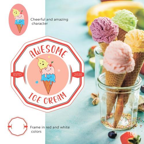 Logo_talisman. Modern and cheerful conveys all the joyful emotions of tasting ice cream