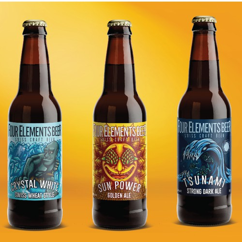 beer label design for four elements beer