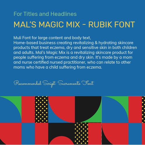 Stylescape of Brand Guide for Mal's Magic Mix Brand