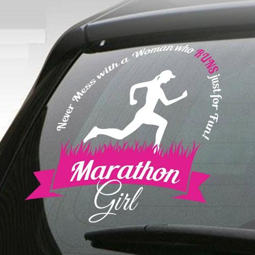 Marathon Girl Sticker Car