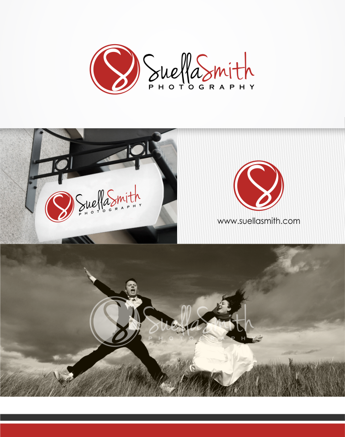 Smart, modern logo for Suella Smith Photography, possibly a setting sun graphic