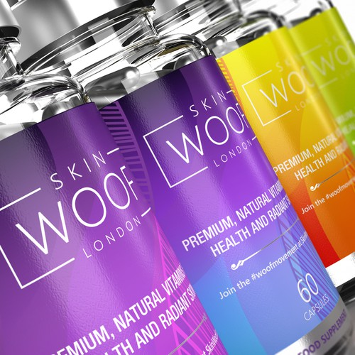 colorful, vibrant bold supplement labels