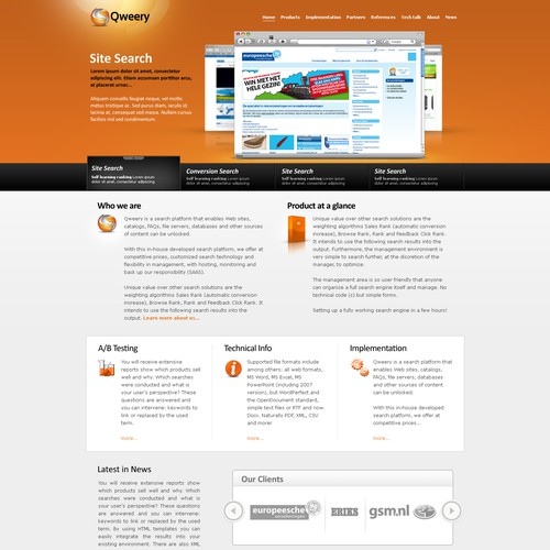 cloud search services corporate website in need of design