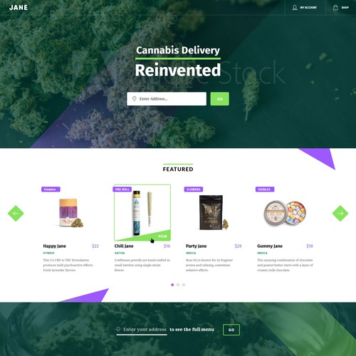 Cannabis Delivery web design