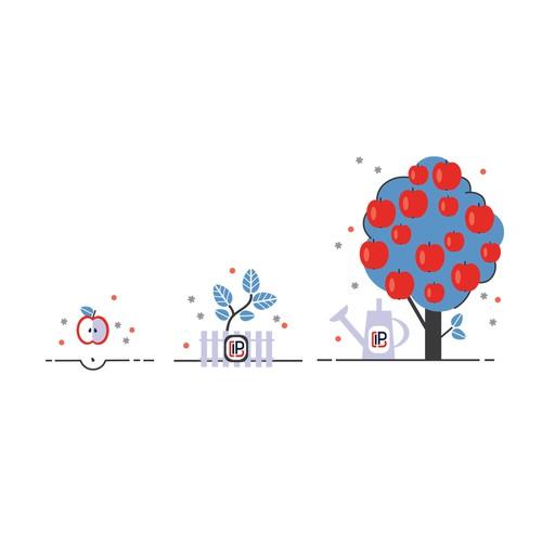 custom illustration of apple life cycle