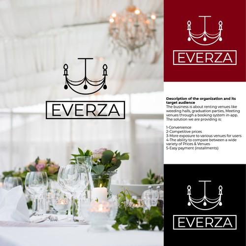 Modern line art concept for venue rental business