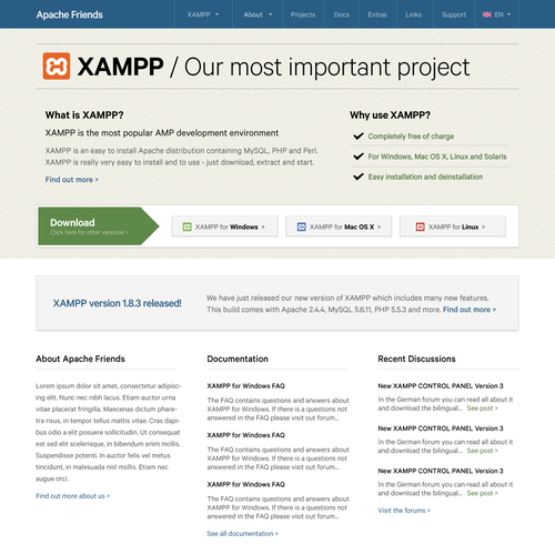 Re-design the Apache Friends / XAMPP Website - reach millions of web developers and designers !