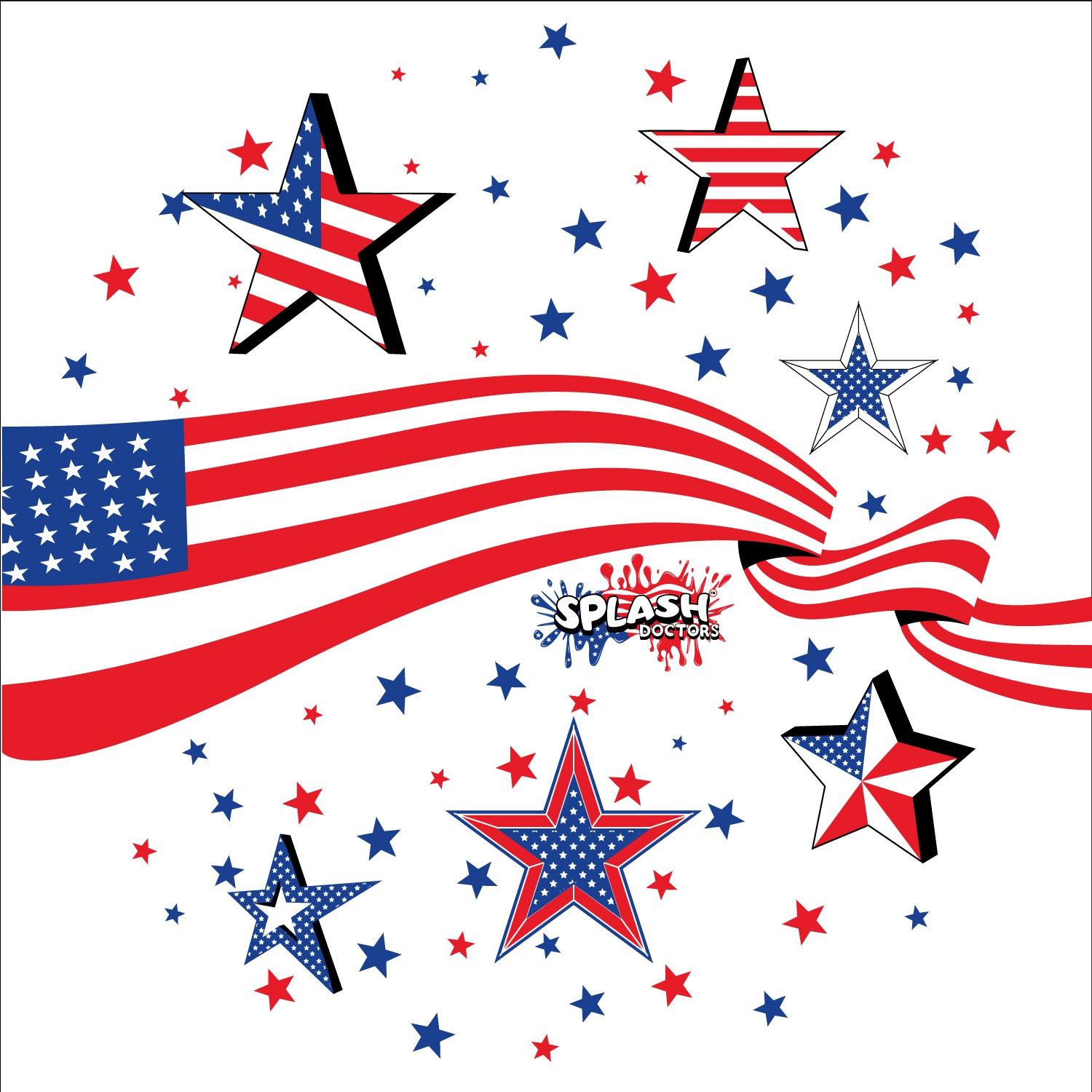 Create a PATRIOTIC DESIGN to be printed on a toddler/kids splash mat/sprinkler