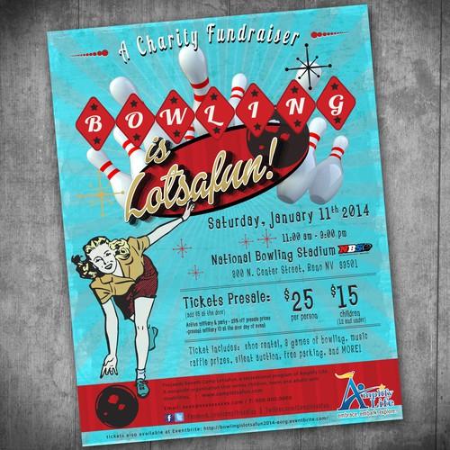 Fun American Retro Bowling Event Flyer
