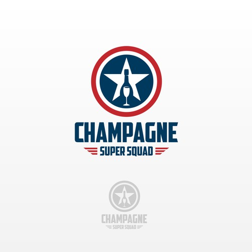 "Logo concept for the ""team name"" that help promote Champagne in clubs and pool parties."