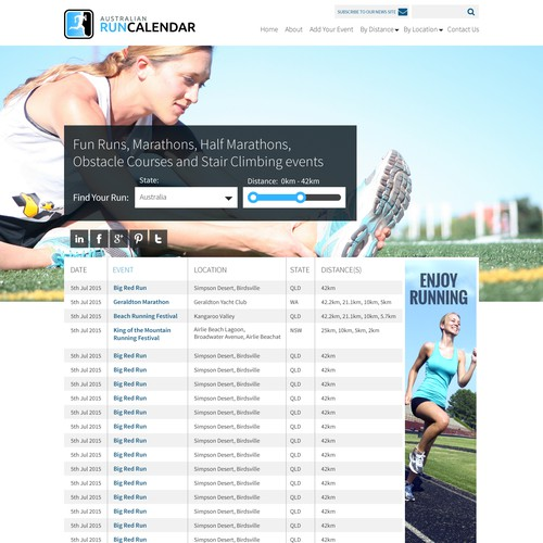 Run Calender Website Design