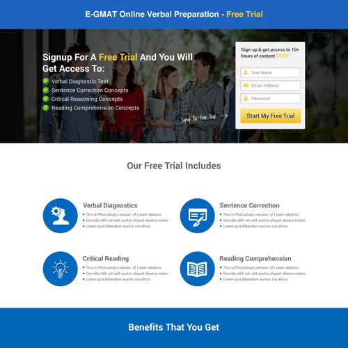 Design a Lead Collection Landing Page for the fastest growing company in GMAT Prep Space