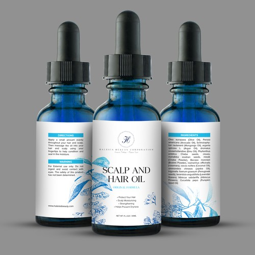 Scalp and Hair Oil Label Design