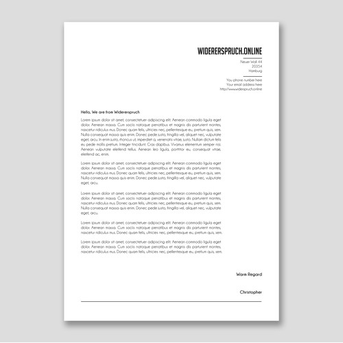 Letterhead for Widerspruch