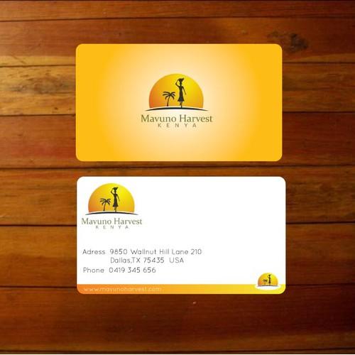 won contest: businessc card for Mavuno Harvest