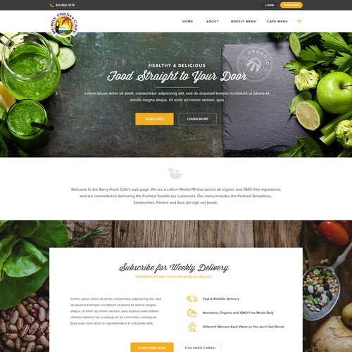 Website design for an organic cafe