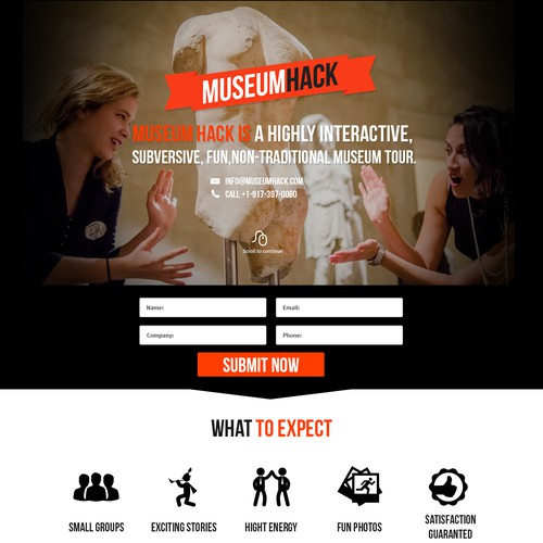 Landing page for cool, fun museum consulting startup in NYC