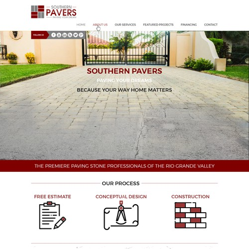 Landing page for Southern Pavers