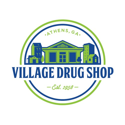 A badge type logo of Village Drug Shop