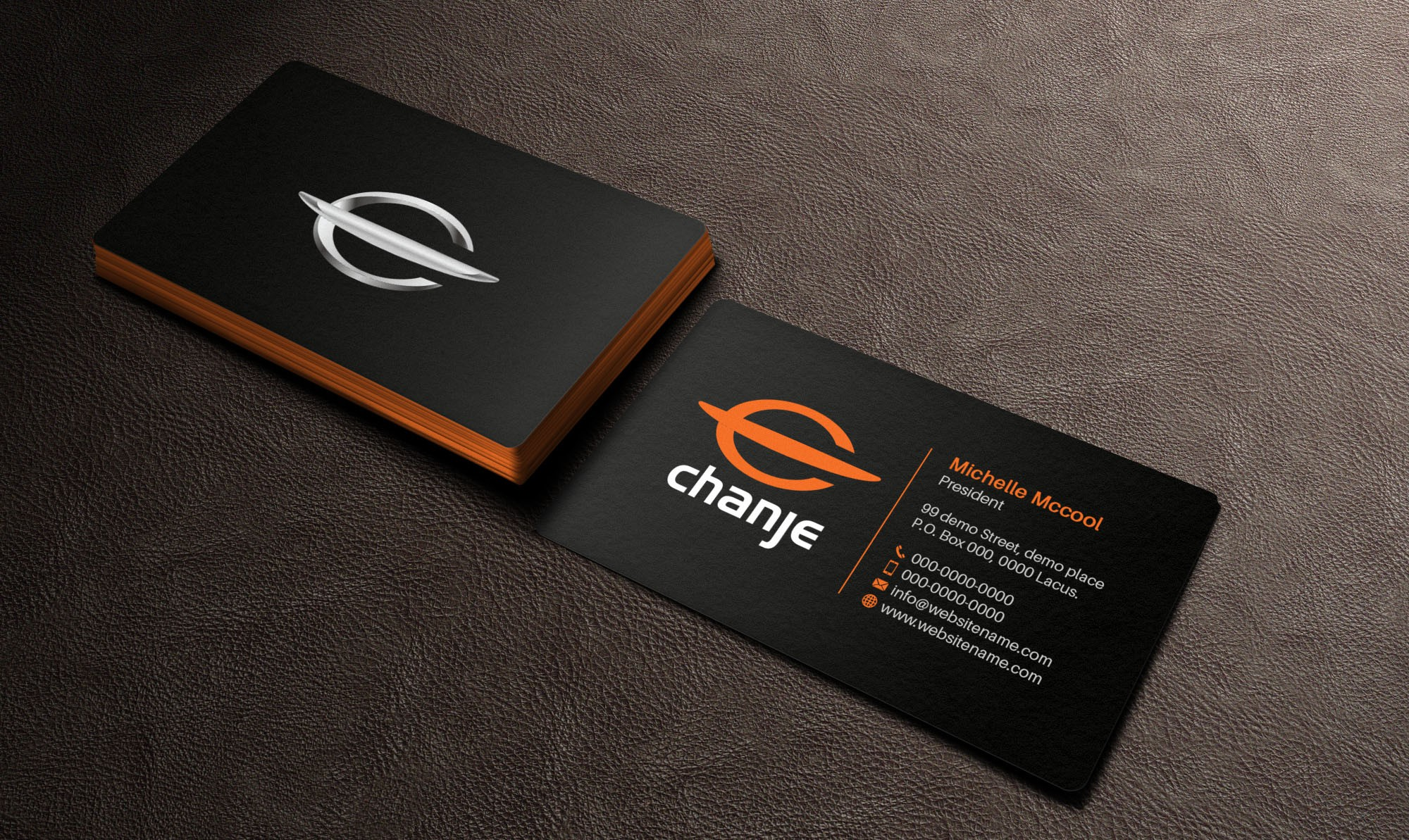 Create a clean & energizing business card for Chanje!