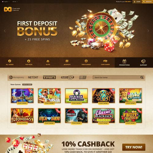Website design for online casino