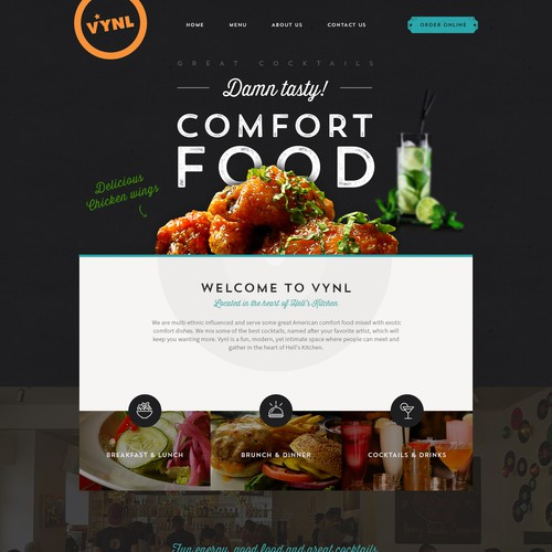 Fun design for VYNL, New York restaurant