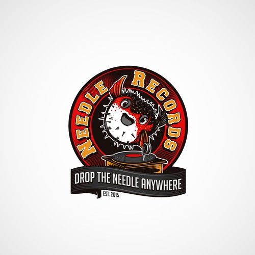 "logo classic vintage logo with a "" fugu "" for a record shop"