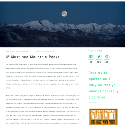 Outdoor blog article page