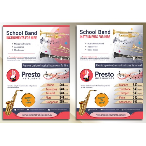 Flyer concept for musical instruments