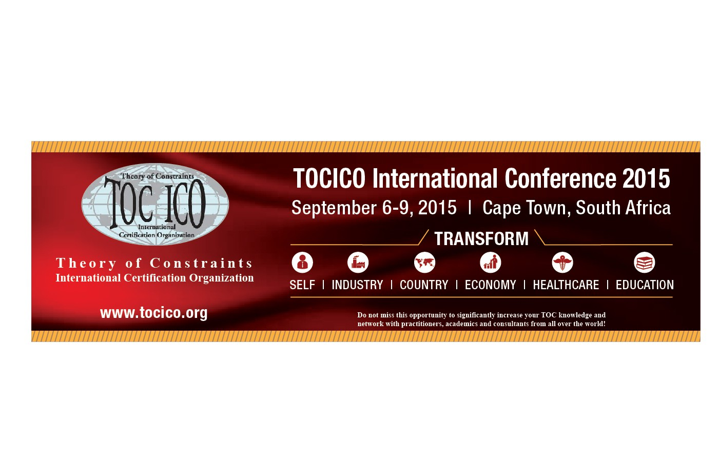 create a transformation banner ad for an international business conference