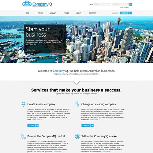 Create the next website design for CompanyIQ