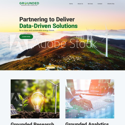 Web design concept for Energy-based/Environmental research company