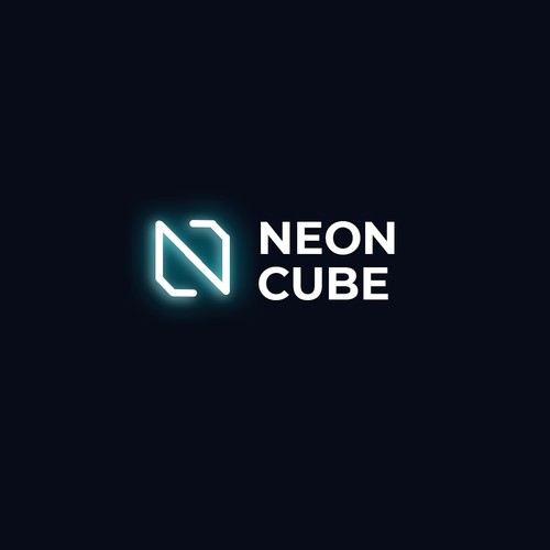 Minimalist Clever Neon Cube Logo