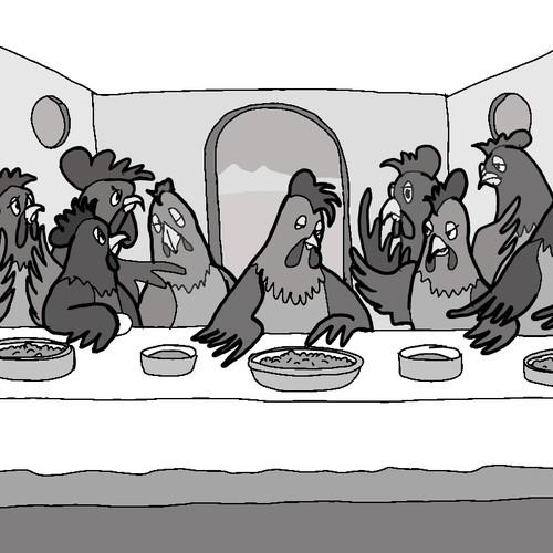 Funny chickens at Da Vinci's the Last Supper!