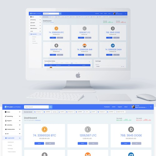 Design for web cryptocurrency wallet