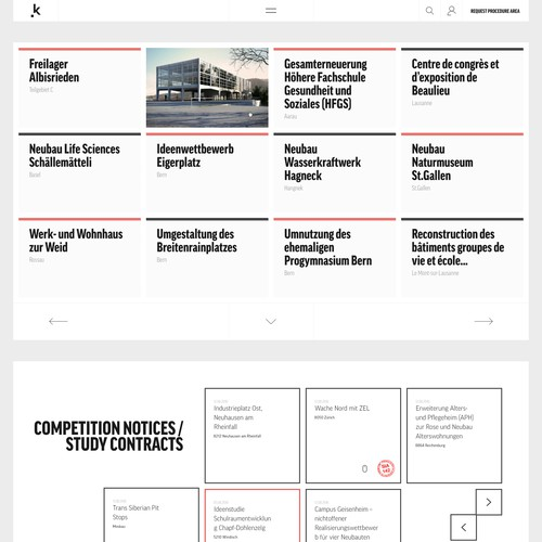 A new layout for KONKURADO, the Swiss platform for architectural and engineering design competitions