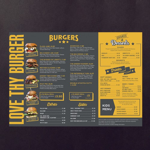 menu for burger bar