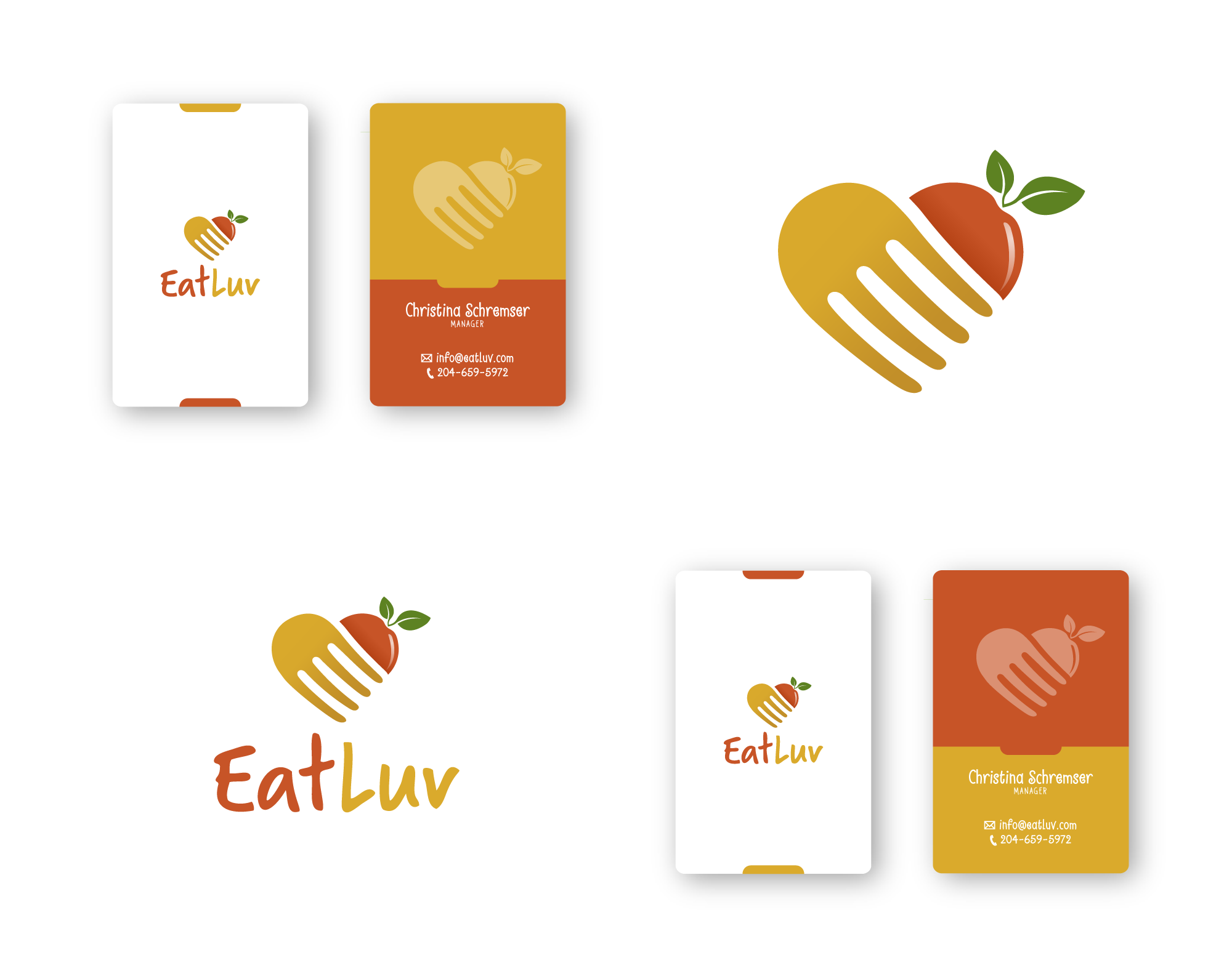 Design a logo for EatLuv, a startup that brings local food and easy recipes to busy home cooks