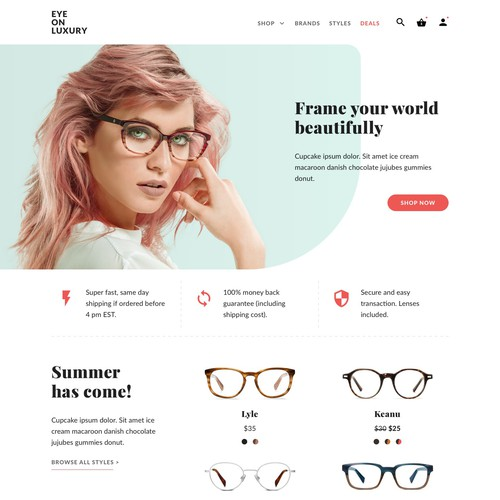 Landing page for eyeglasses retailer