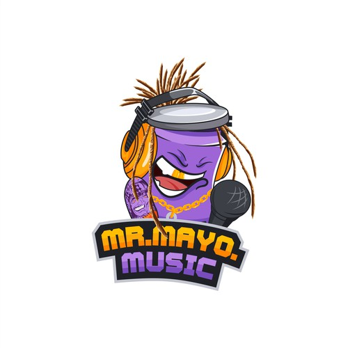 Mascot logo for music podcasts