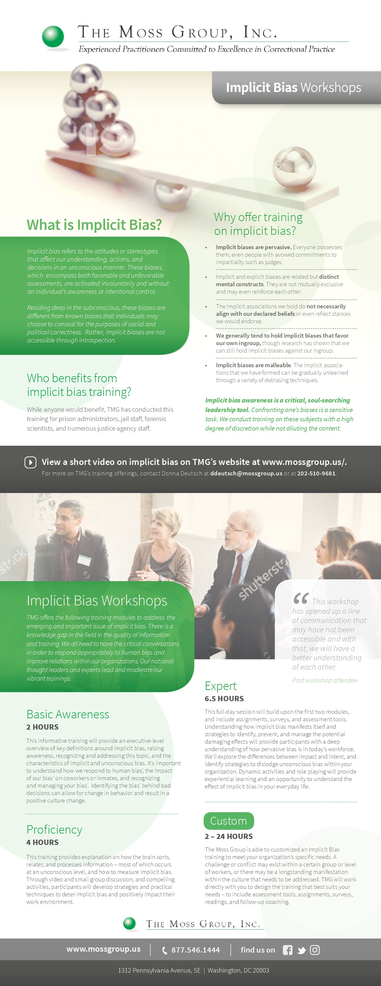 Professional training flyer for TMG on Implicit Bias