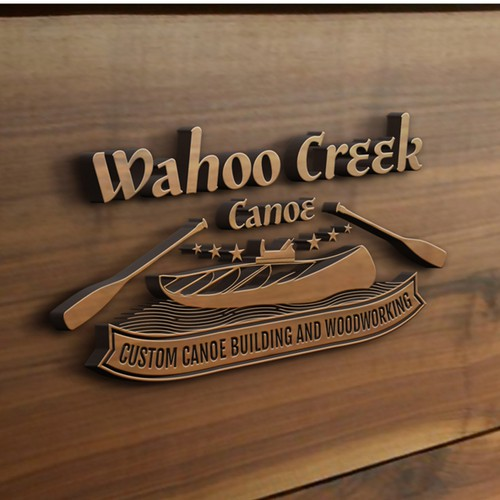 Custom made wooden canoes, and wooden camp furniture