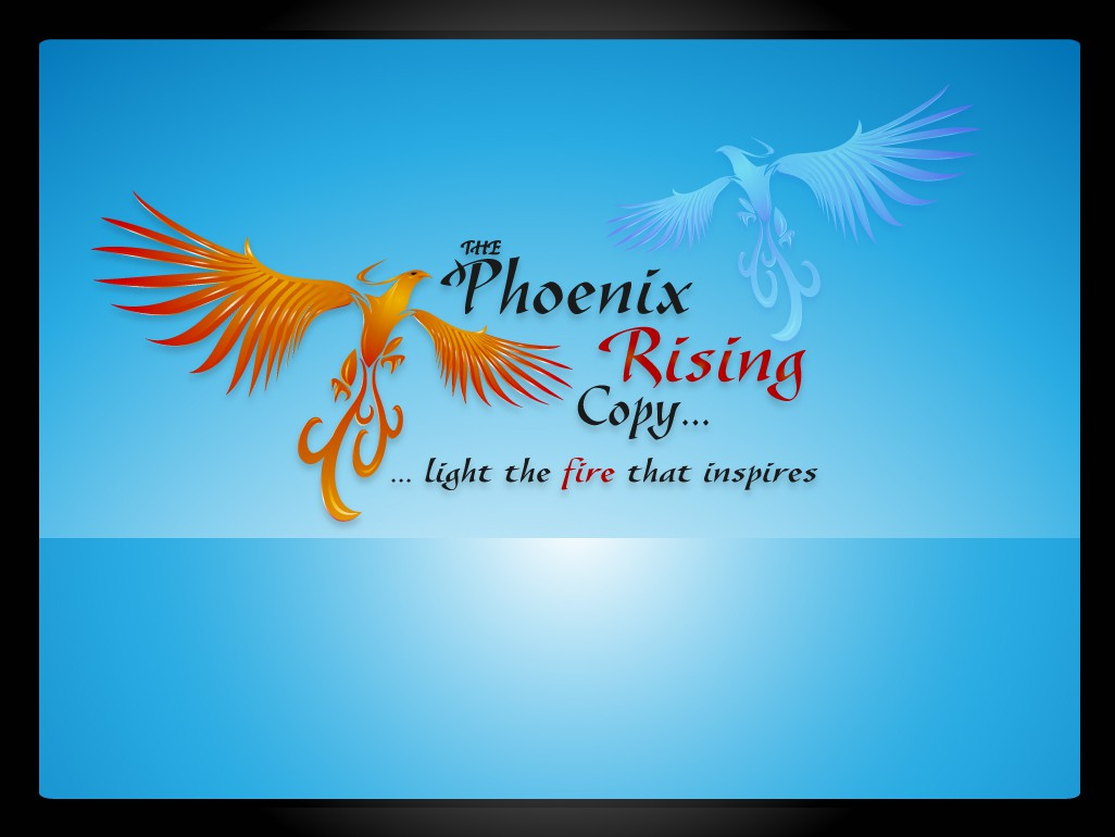 THE [smaller font for THE] Phoenix Rising Copy.... [for website header, and business cards] needs a new logo and business card