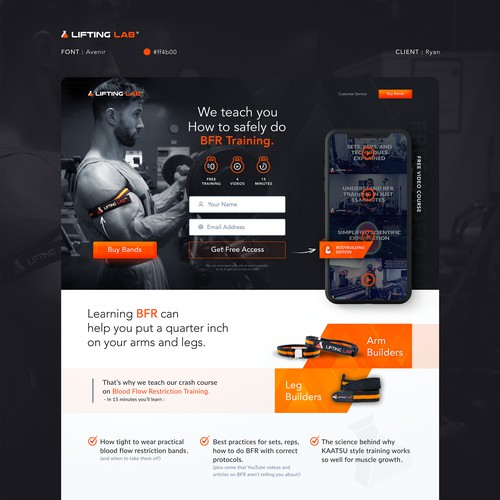 Industrial Feeling Fitness Landing Page for Ryan